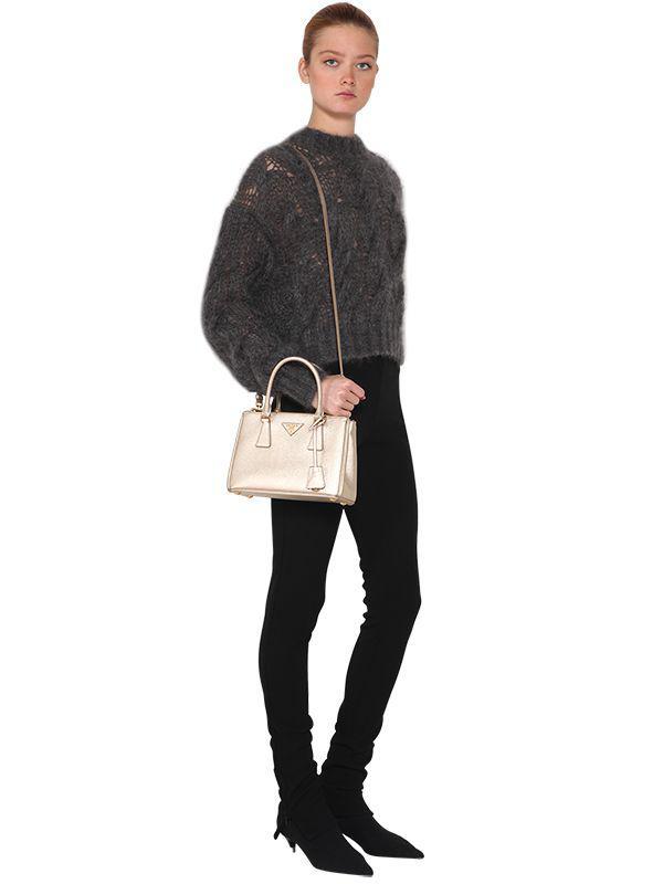7853511fc1 ... wholesale prada metallic small galleria saffiano leather bag lyst. view  fullscreen bb983 2e069