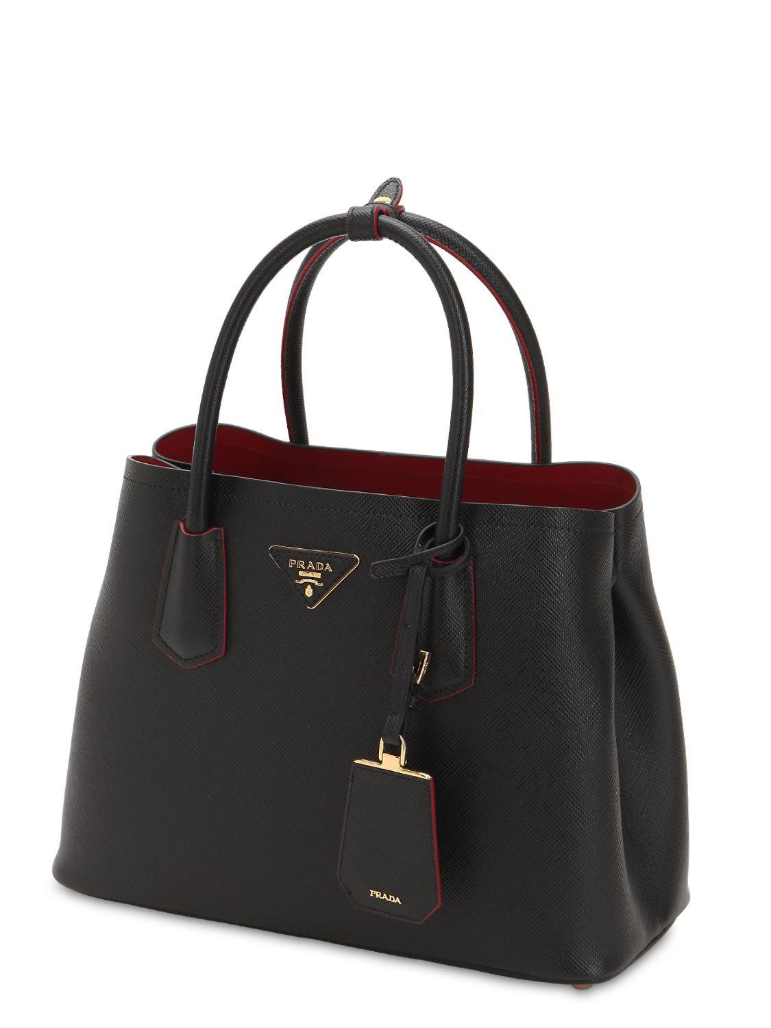 ec98f6c387ff wholesale review prada saffiano lux promenade bag a9d72 48d50  clearance prada  black saffiano leather top handle bag lyst. view fullscreen db649 a6002