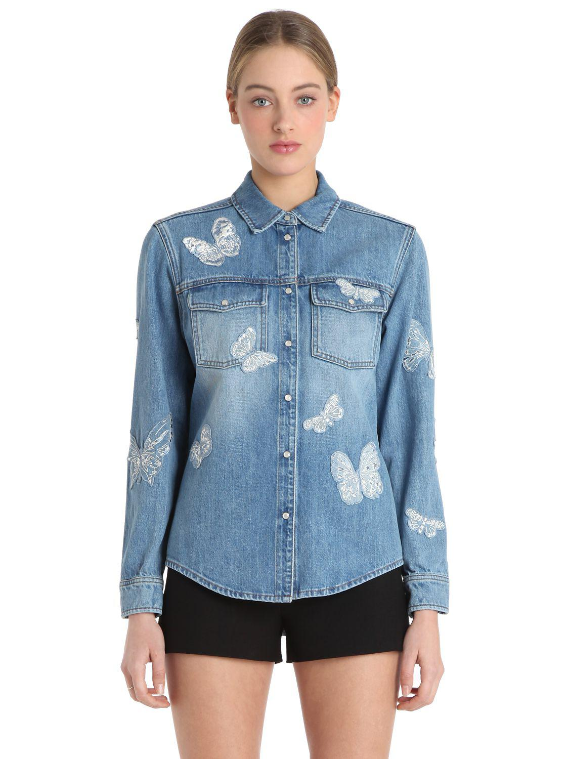 9a65bf69cae12 Valentino Butterfly Embroidery Denim Jacket in Blue - Lyst