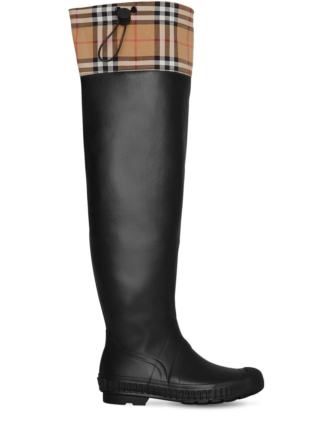5b1bf5b7258c Lyst - Burberry 20mm Freddy Rubber   Check Boots in Black