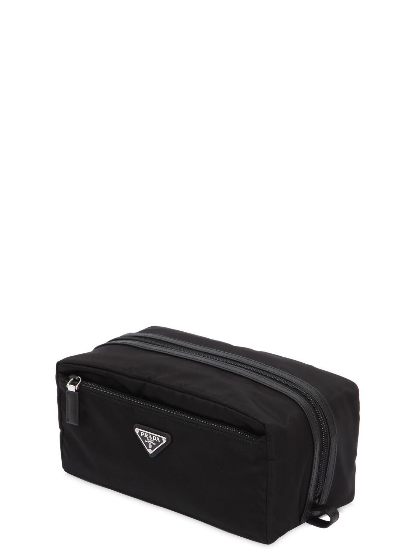 9504b50c6a15 Prada - Black Nylon Toiletry Bag W/ Leather Details for Men - Lyst. View  fullscreen