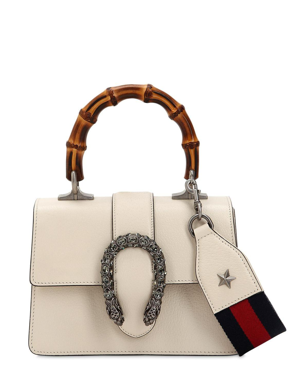 1faa76ea0 Gucci Mini Dionysus Bamboo & Leather Bag in White - Lyst