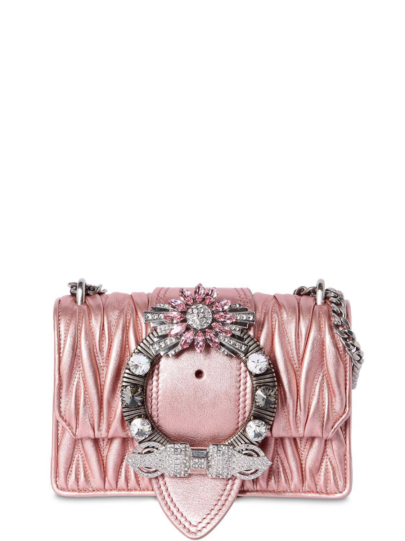 8da4a956899 Lyst - Miu Miu Med Miu Lady Quilt Metallic Leather Bag in Pink
