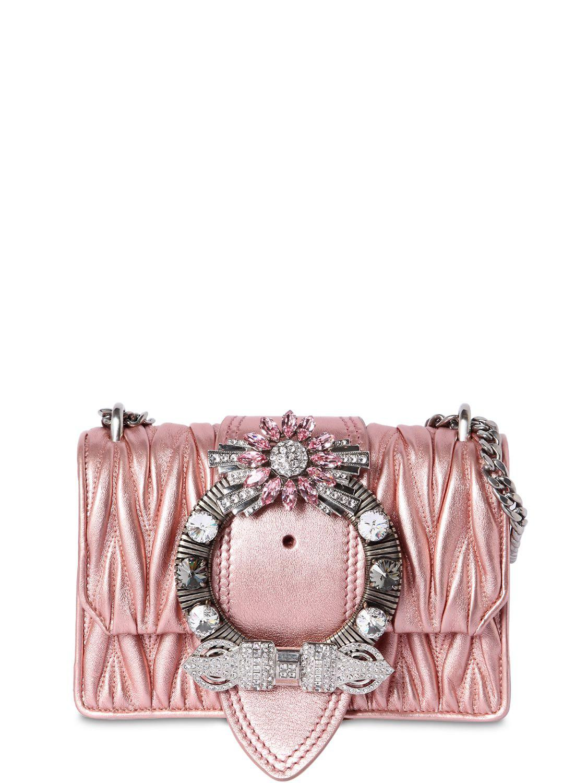 1cffa392d624 Lyst - Miu Miu Med Miu Lady Quilt Metallic Leather Bag in Pink