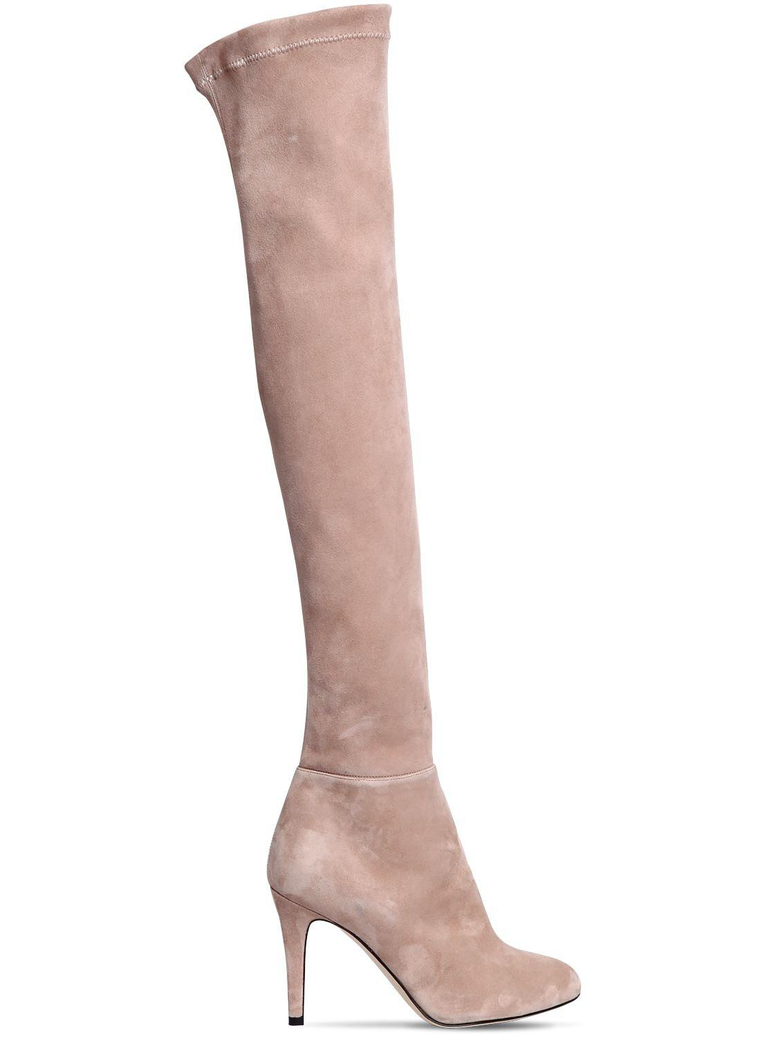 d7bdad33c55 Lyst - Jimmy Choo 90mm Toni Suede Over The Knee Boots in Natural