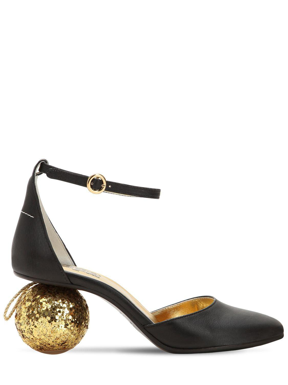423d37f0661a Lyst - MM6 by Maison Martin Margiela 60mm Sphere Heel Leather Pumps ...