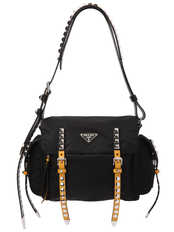 0612195f418b ... coupon for lyst prada studded nylon messenger bag in black e2184 2c886