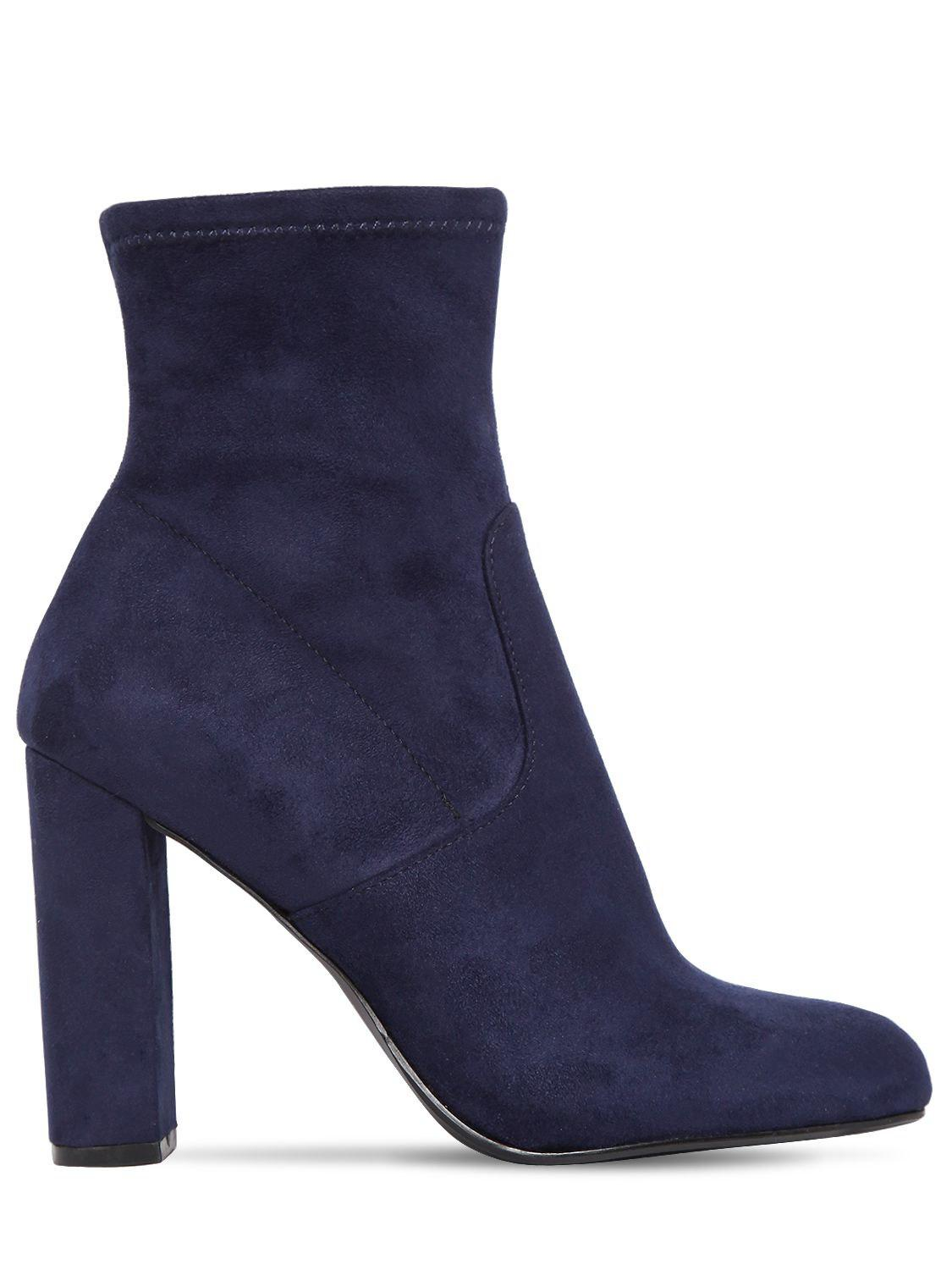 8ee9a9ede53 Steve Madden 100mm Editt Stretch Faux Suede Boots in Blue - Lyst