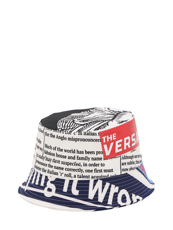 7f14e75ef93bd Versace Tabloid Print Nylon Bucket Hat for Men - Lyst