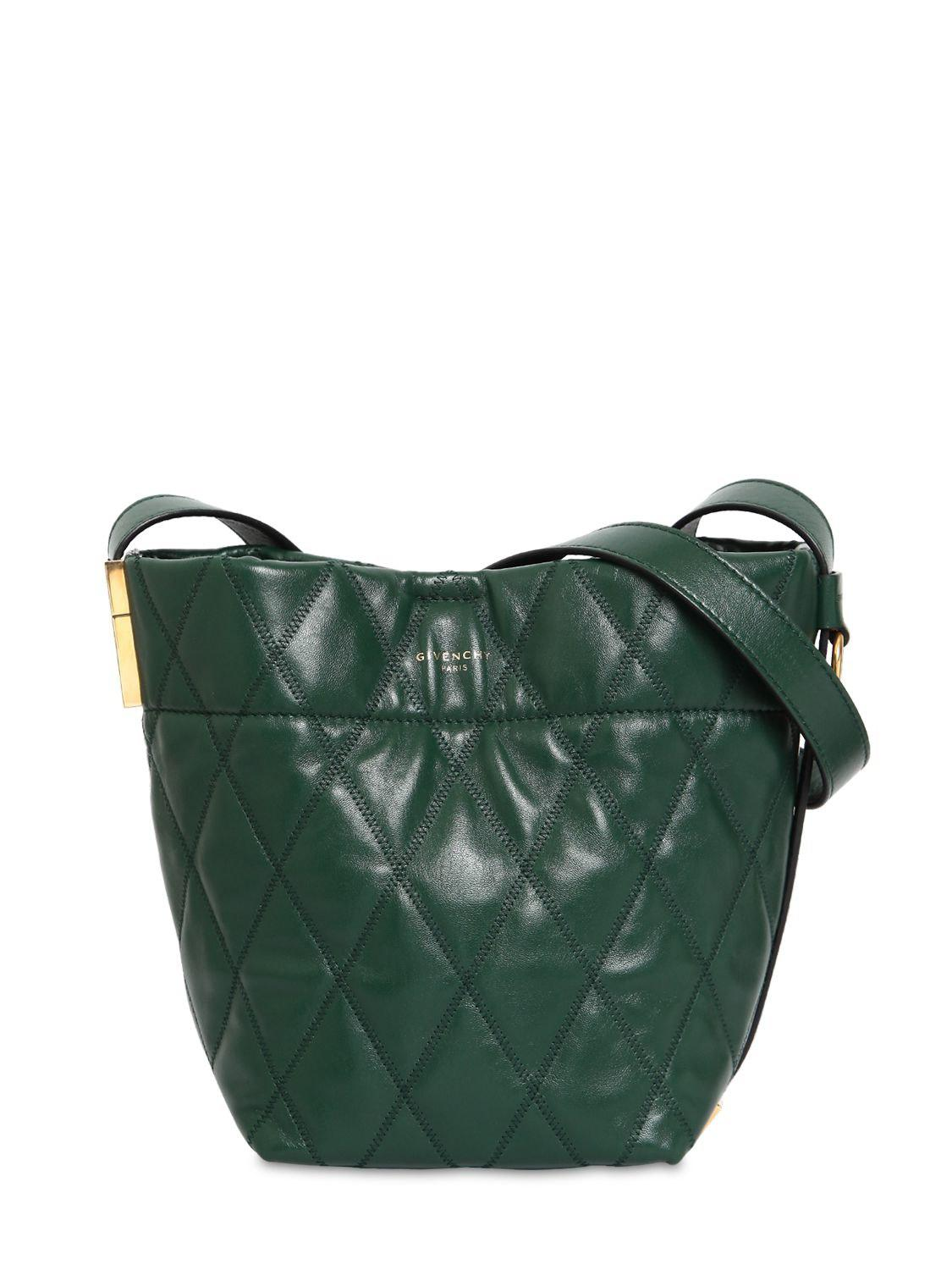 cbbe0ac4abbf Lyst - Givenchy Mini Gv Quilted Leather Bucket Bag in Green