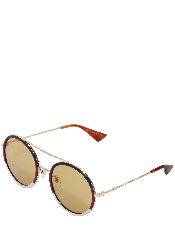 Lyst - Lunettes de soleil rondes monture en métal Gucci fd0cea6b6137