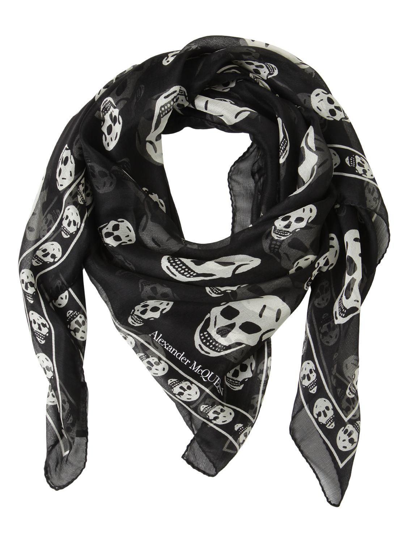983e10801d2cf Alexander McQueen. Women s Black Classic Skull Printed Silk Chiffon Scarf