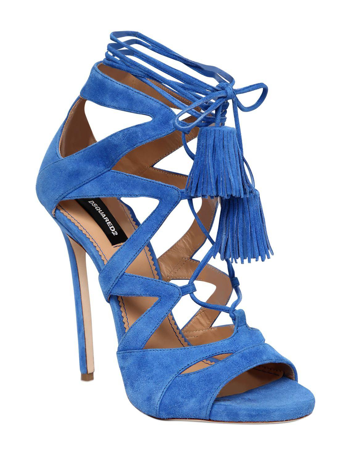 Dsquared2 120MM SUEDE LACE-UP SANDALS W/ TASSELS Qdee9