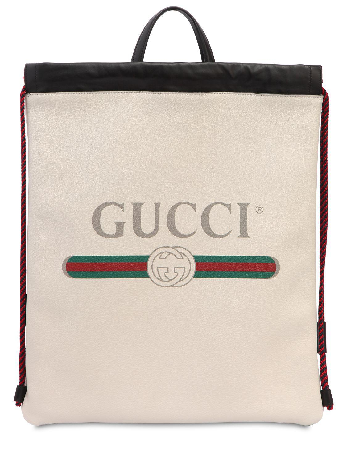 221a0365493f Gucci - White Vintage Logo Printed Drawstring Backpack for Men - Lyst. View  fullscreen
