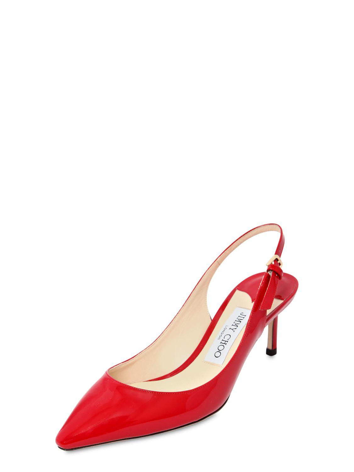 398bf1d12d5 Jimmy Choo - Red 60mm Erin Patent Leather Slingback Pumps - Lyst. View  fullscreen
