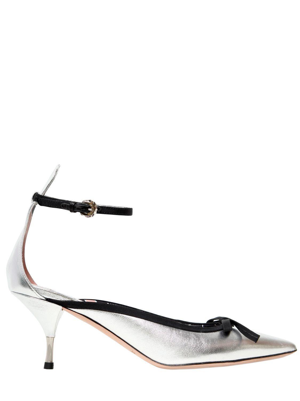 5e603388bbf8 Lyst - Rochas 60mm Metallic Leather Pumps W  Bow in Metallic