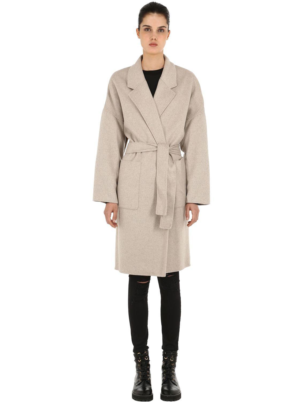 Lyst Allsaints Lara Wool Blend Coat In Natural