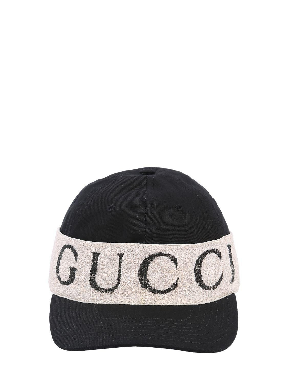 7256e8b8375 Lyst - Gucci Logo Band Cotton Gabardine Baseball Hat in Black for Men
