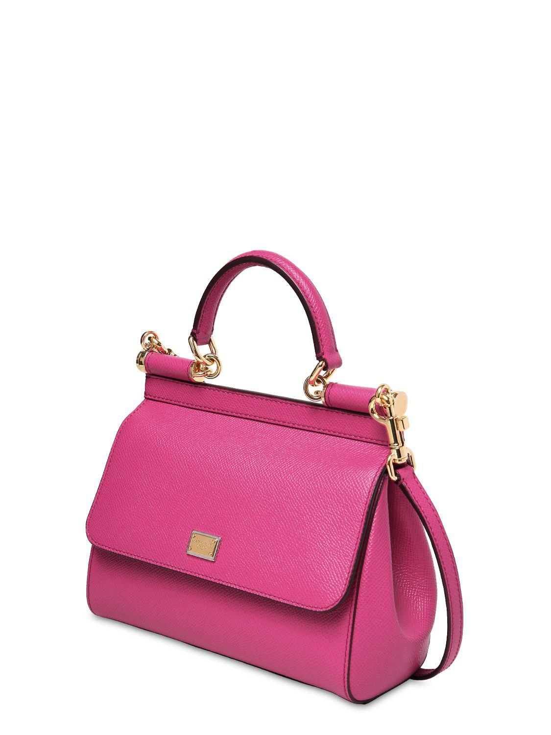 Dolce   Gabbana - Pink Small Sicily Dauphine Leather Bag - Lyst. View  fullscreen 3ae7f89c586d0