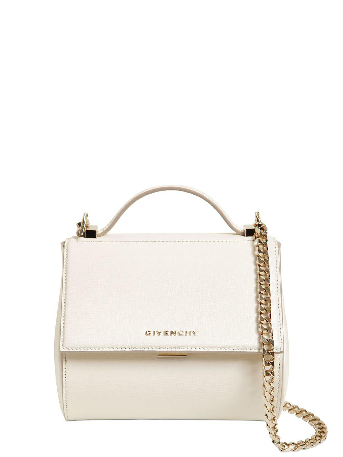 Lyst Givenchy Mini Pandora Box Bag W Chain Strap In White