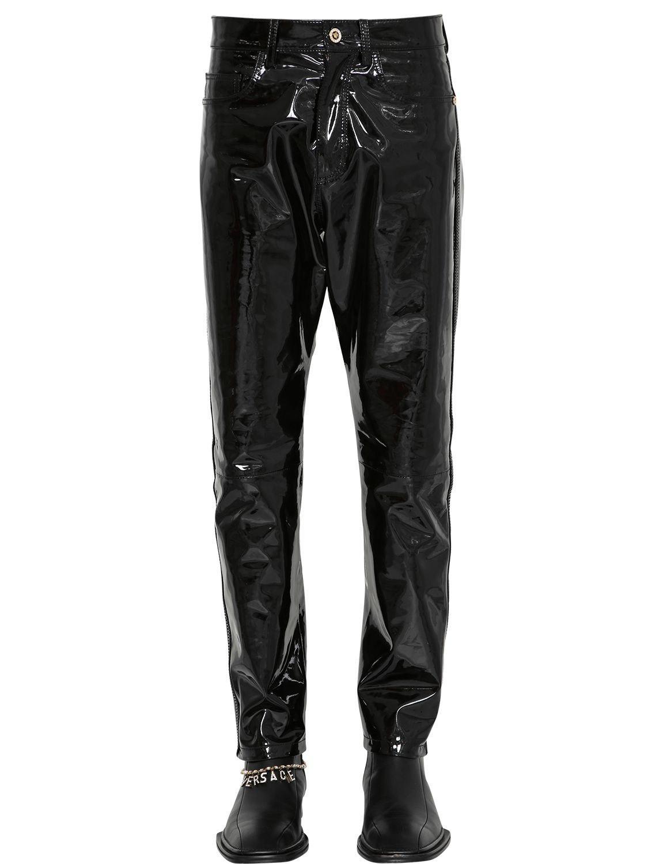 bc14bd4869e2d Lyst - Pantalones De Piel Slim Fit Versace de hombre de color Negro