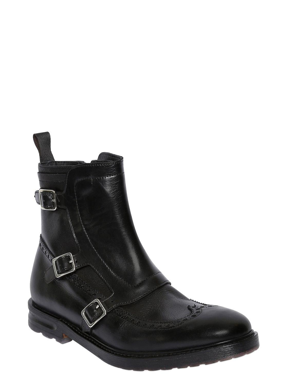 Alexander McQueen WING TIP LEATHER BOOTS WITH GAITER chSvihbe