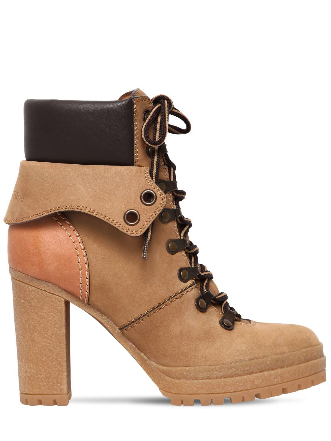 Chloé 100MM SUEDE LACE UP BOOTS