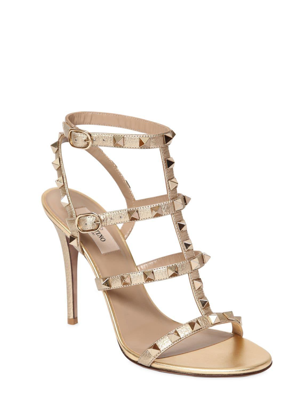 44a76e5d3405 Valentino - Metallic 105mm Rockstud Embellished Sandals - Lyst. View  fullscreen