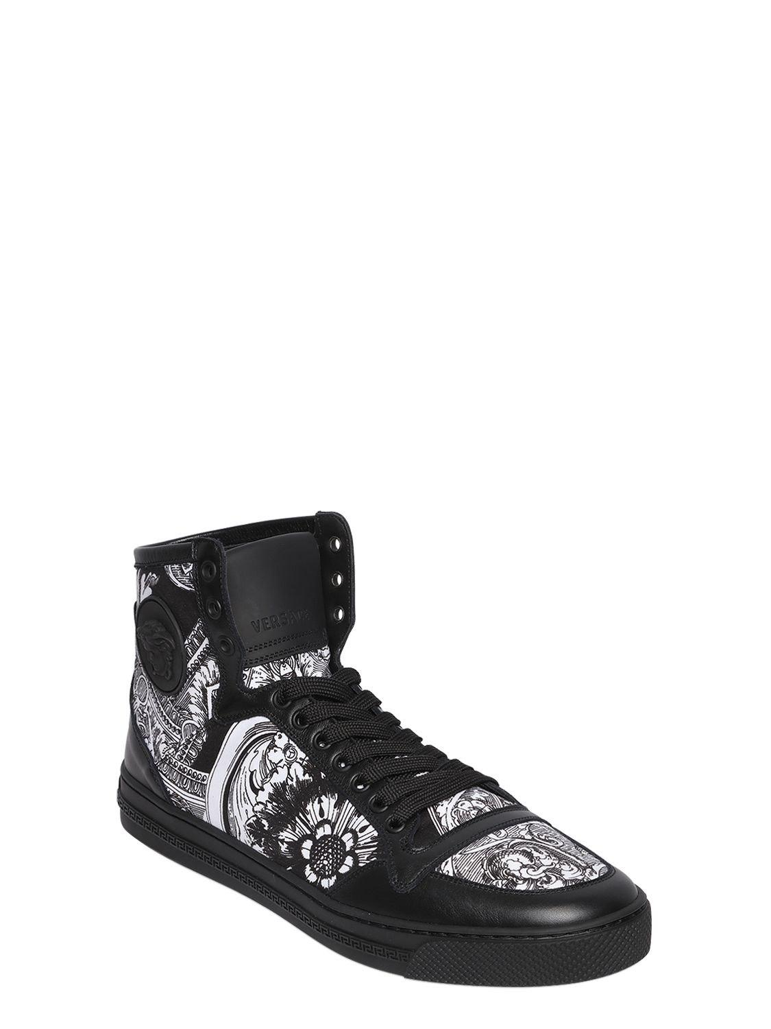 VERSACEBAROQUE PRINT CANVAS & LEATHER SNEAKERS XjMzgOxu