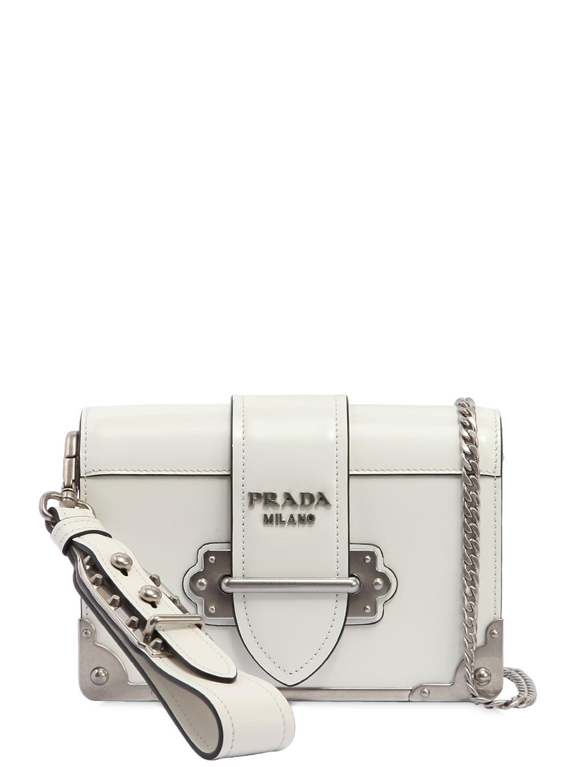 1367950074e4 Prada Small Cahier Polished Leather Bag in White - Lyst