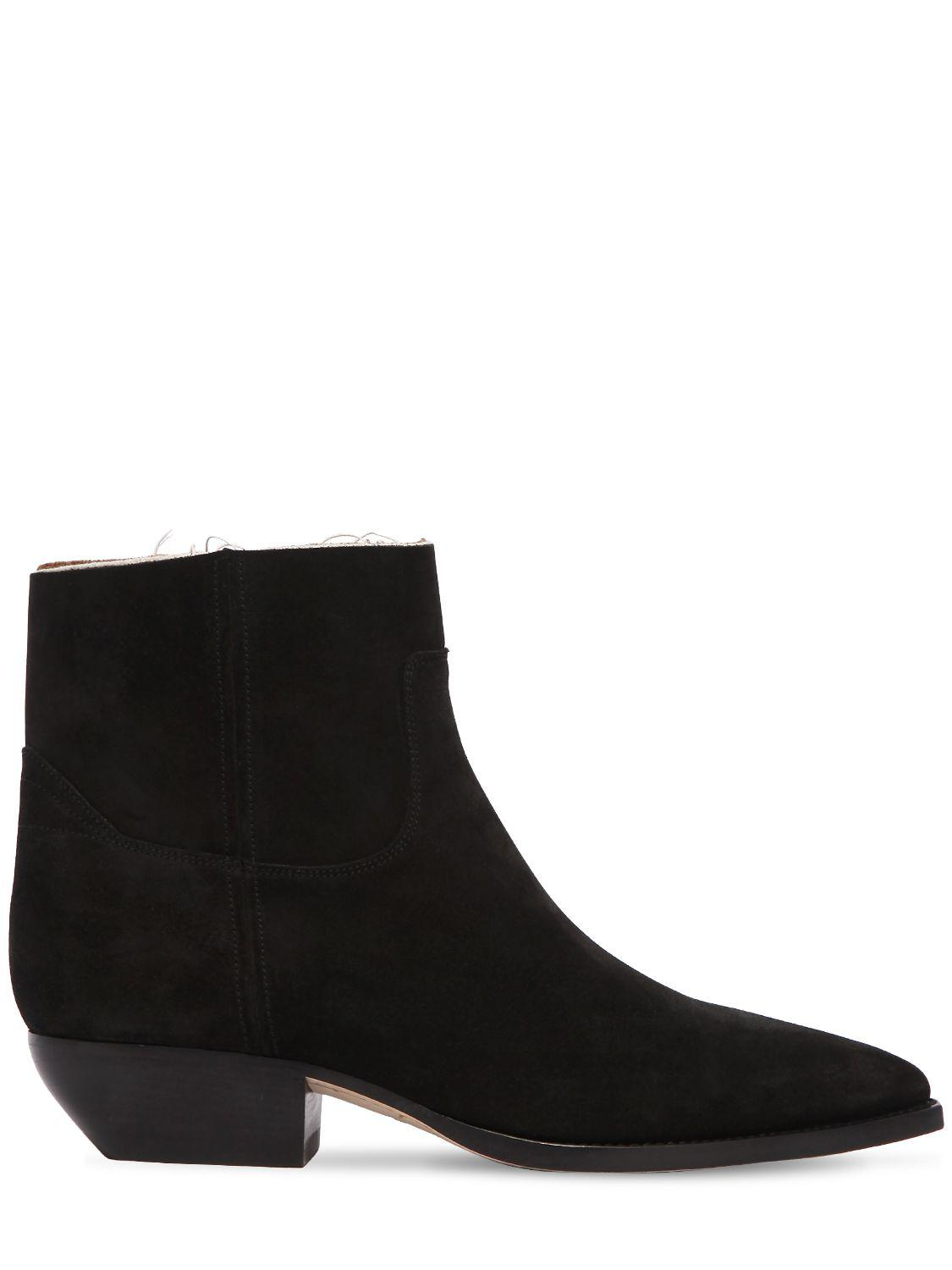 Saint Laurent Suede Theo Buckled Ankle Boots in . PAiiFrTYL4