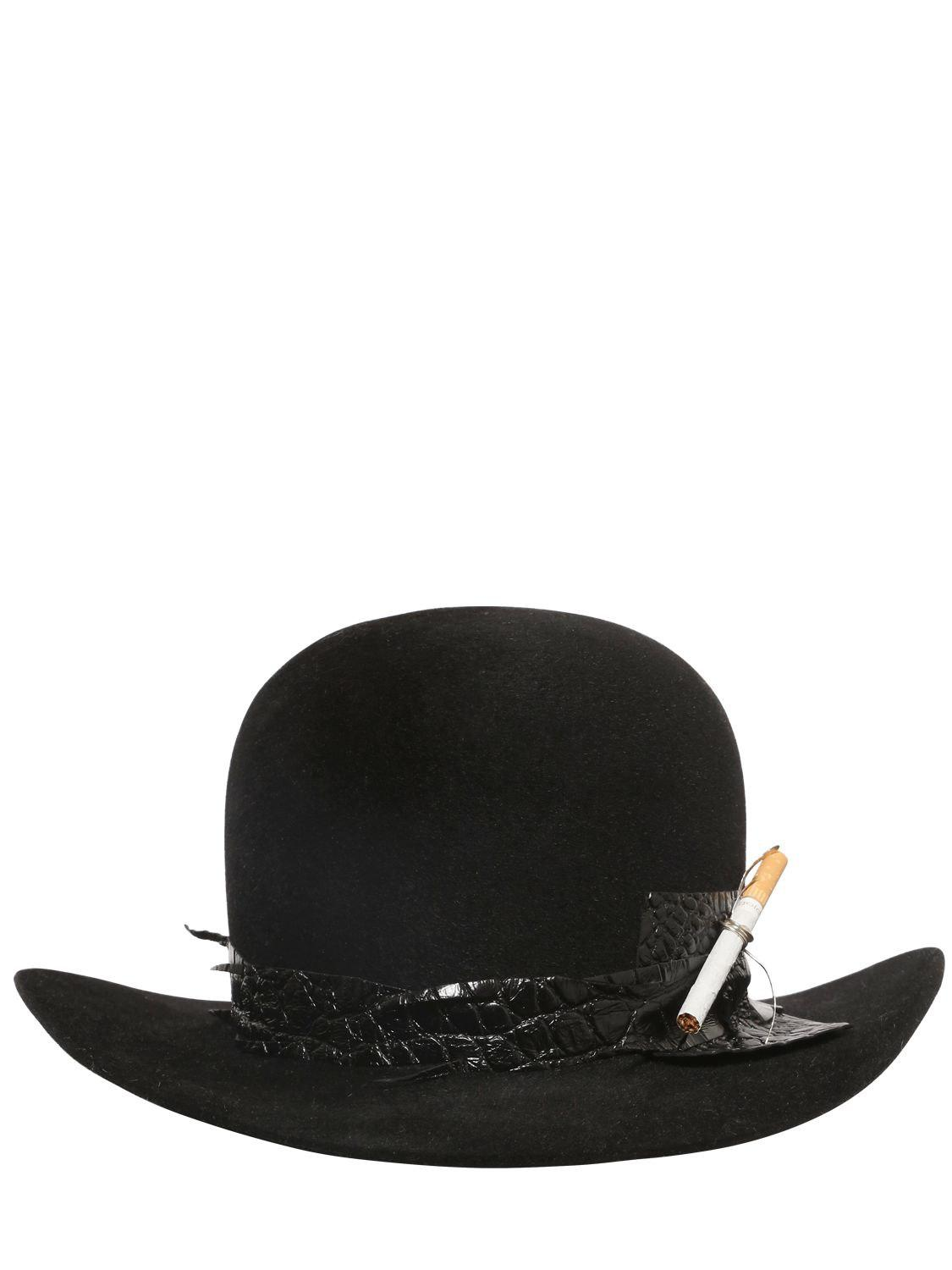 be2e57fa9d46ed Move - Black Fur Felt Bowler Hat W/ Cigarette Holder for Men - Lyst. View  fullscreen
