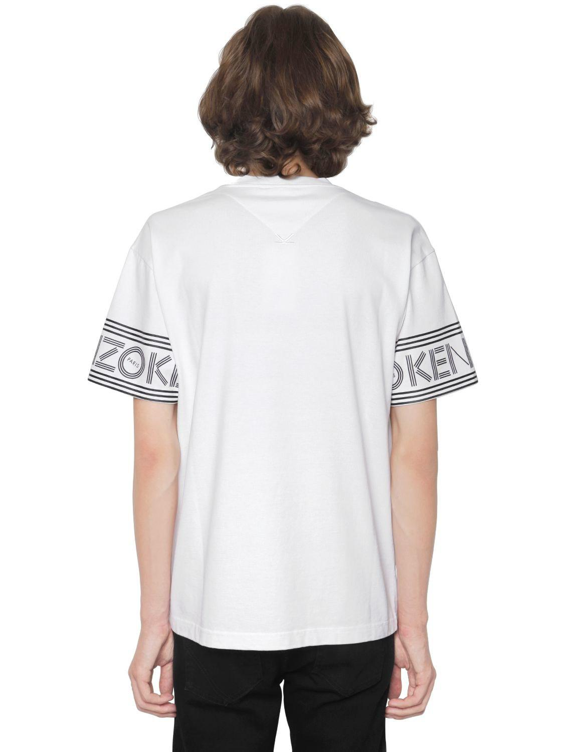 7a22343bd KENZO - White Logo Printed Cotton Jersey T-shirt for Men - Lyst. View  fullscreen