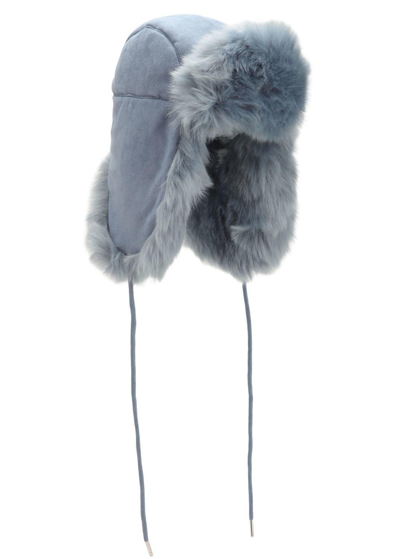 290e2191218 Lyst - Charlotte Simone Helmet Head Faux Suede   Faux Fur Hat in Blue