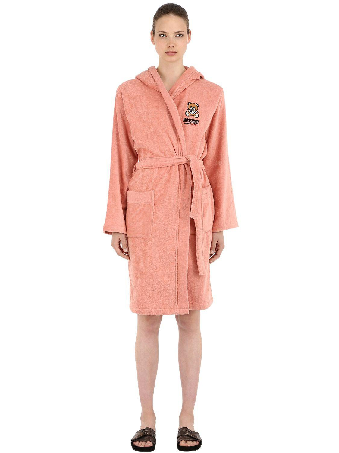 Moschino Underbear Cotton Bathrobe in Pink - Lyst 4685dedca