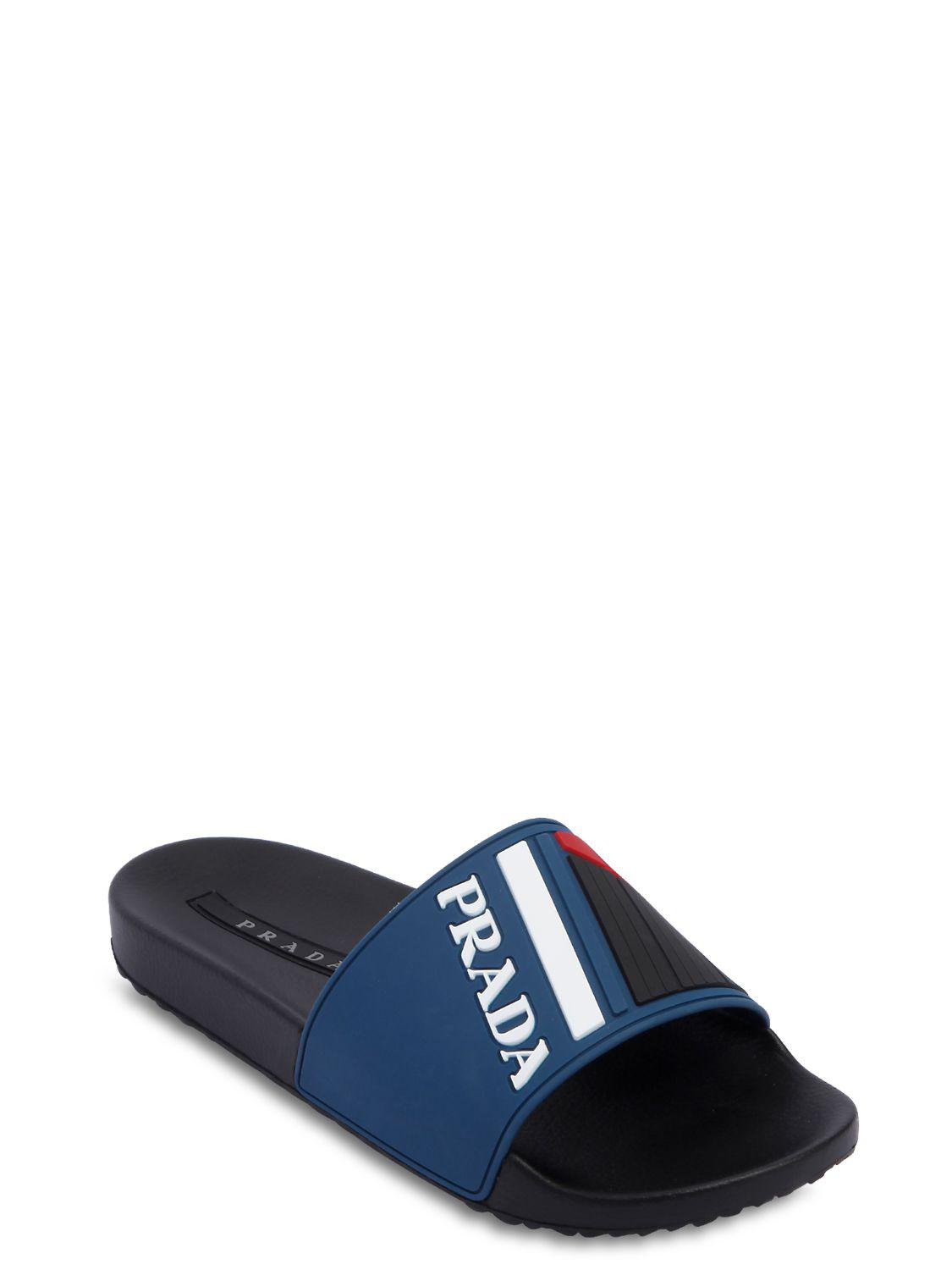 528c9a8cdd69d0 Lyst - Prada Logo Slides in Blue for Men - Save 62%
