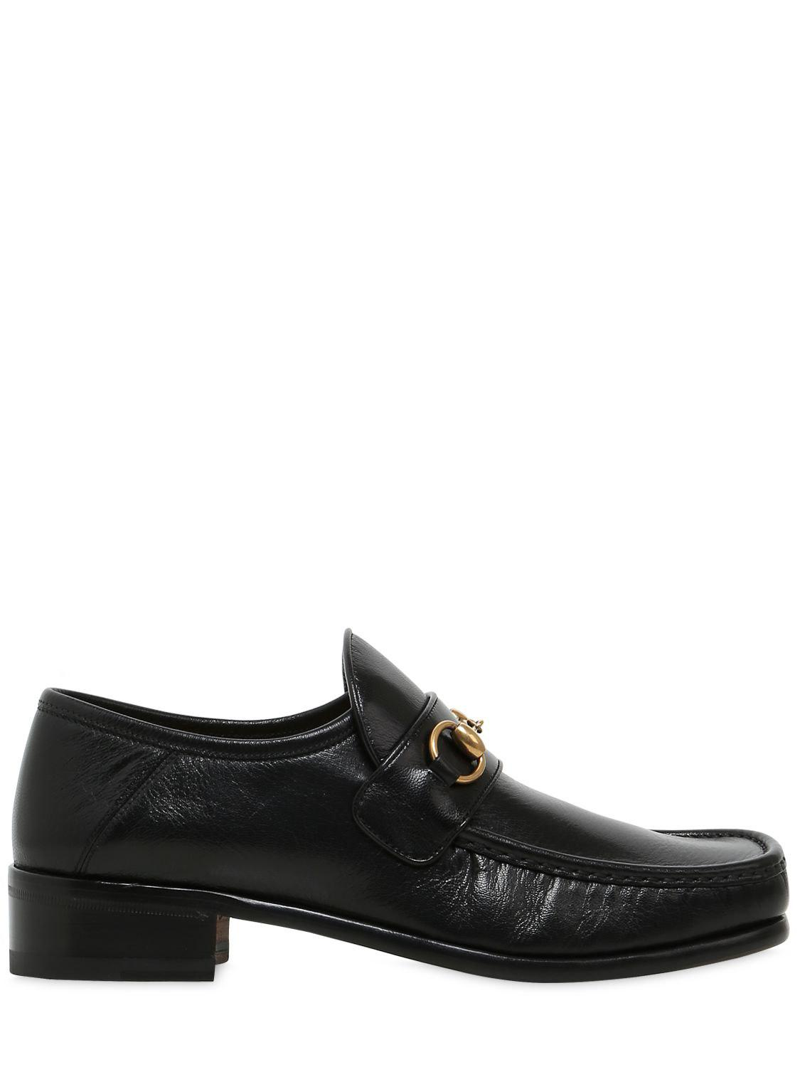 gucci horsebit square toe leather loafers in black for men lyst. Black Bedroom Furniture Sets. Home Design Ideas