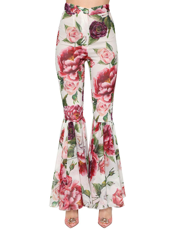Dolce & Gabbana. Women's Peony-print Silk Trousers