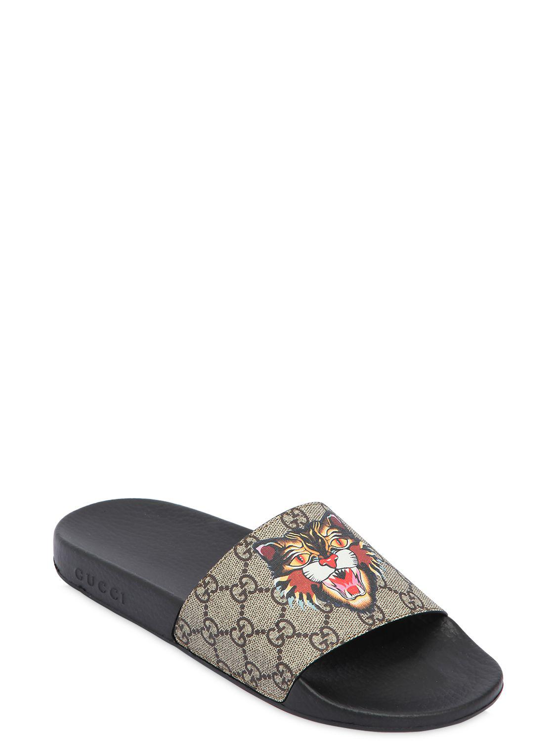 fc43e4f01bbb Gucci Gg Supreme Angry Cat Slide Sandals - Lyst