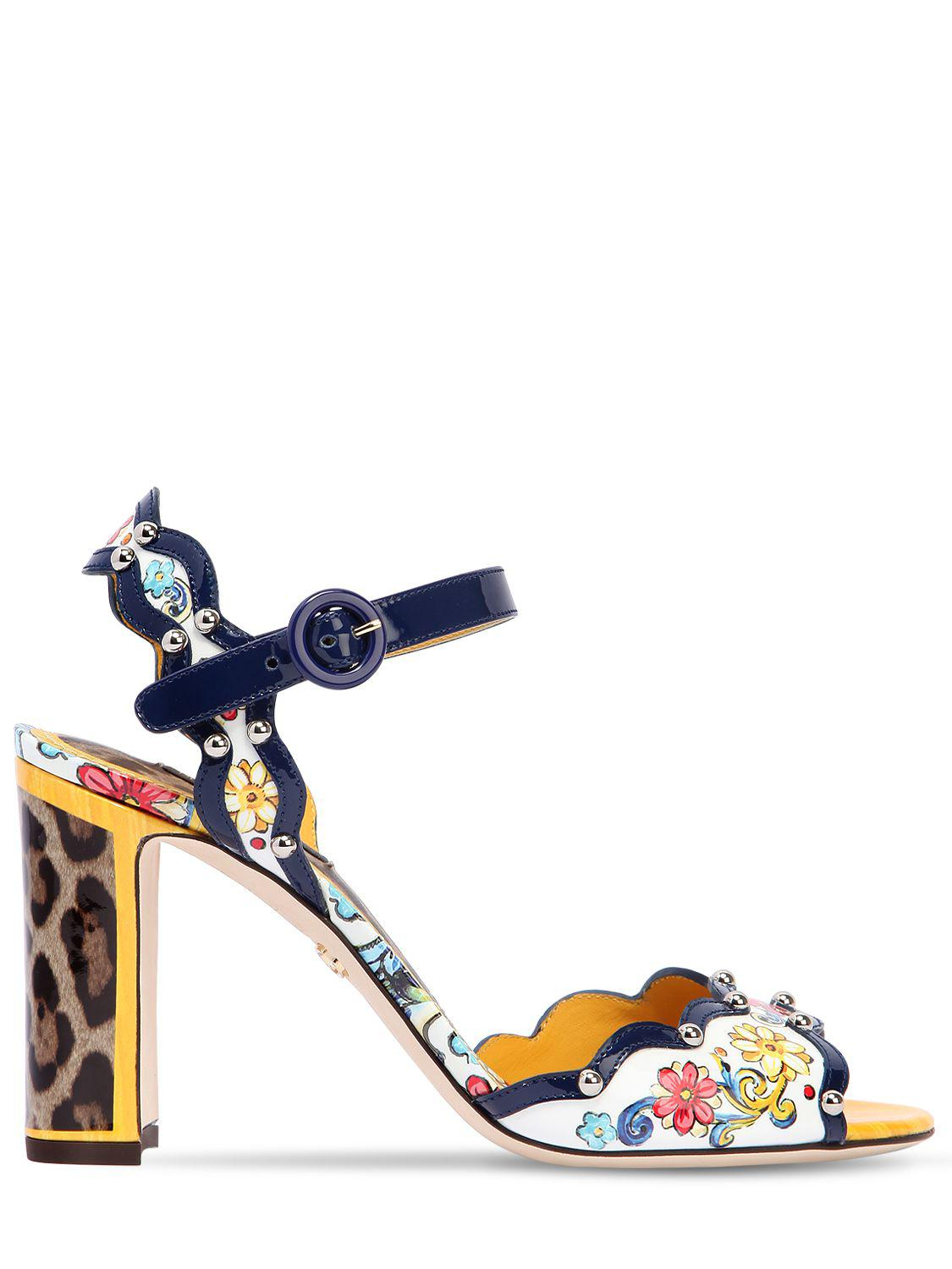 Dolce & Gabbana 90MM MAIOLICA PATENT LEATHER SANDALS dQEtZBrz