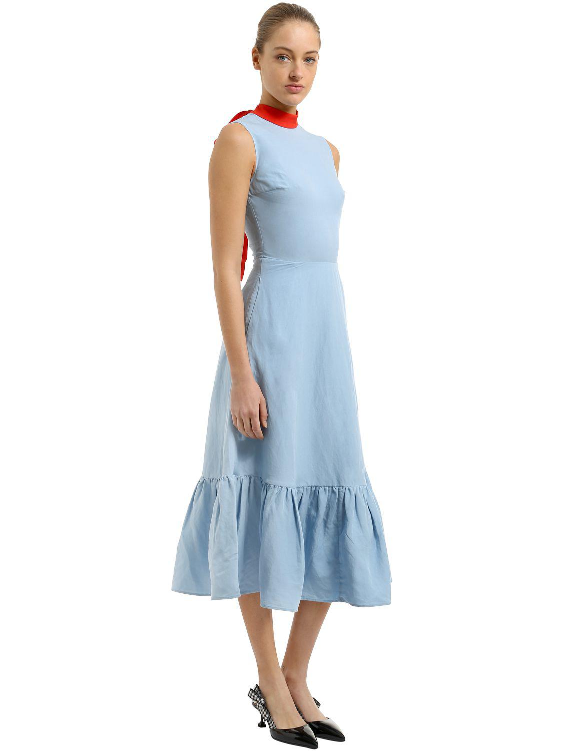 5186a0ff653 Rejina Pyo Self-tie Collar Linen Dress in Blue - Lyst
