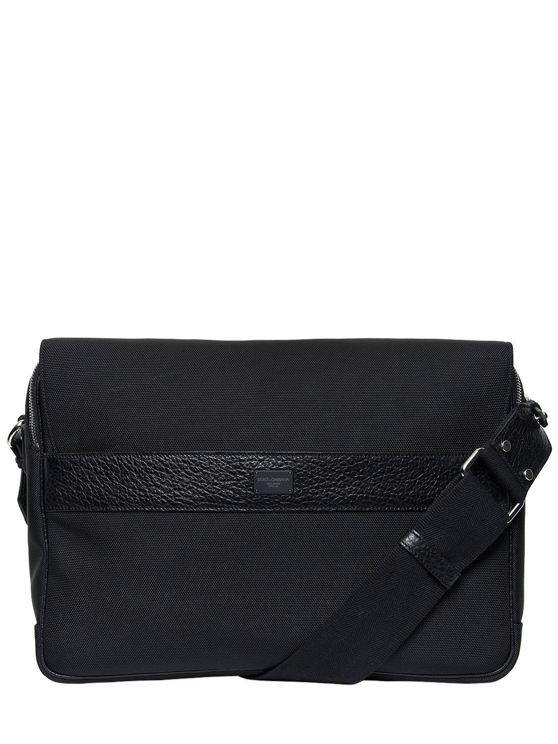 Dolce   Gabbana Nylon   Leather Messenger Bag in Black for Men - Lyst 15cc046f4fa58