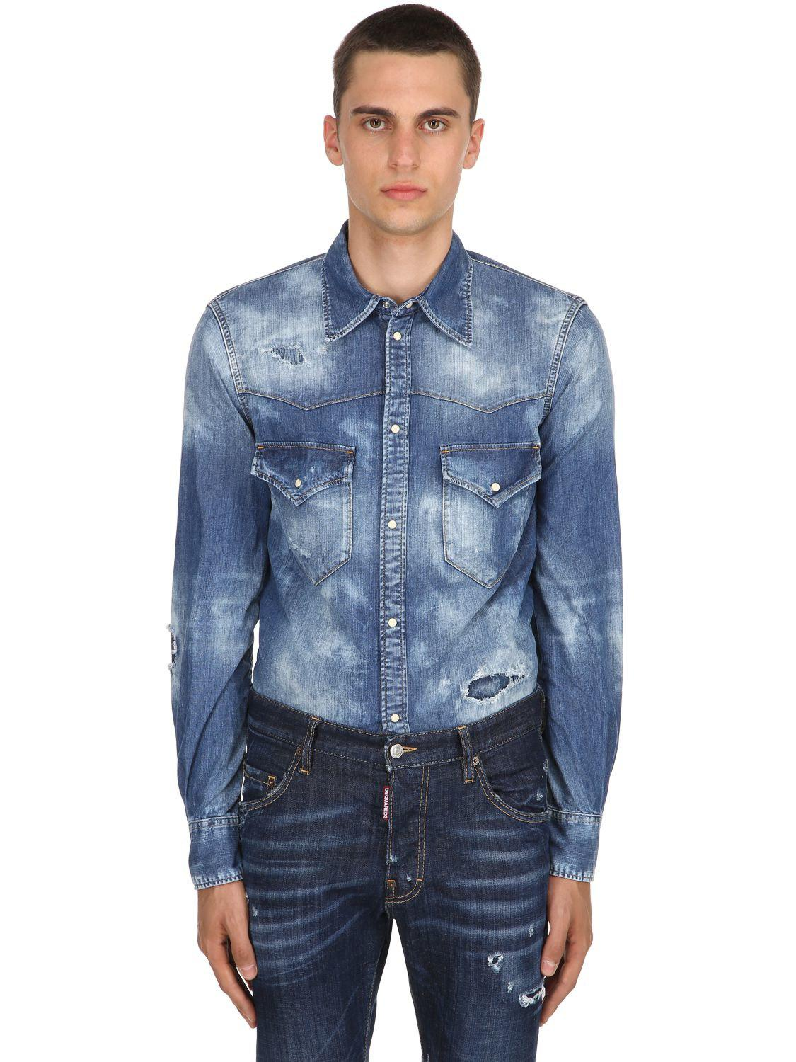 a2f89bee041 Lyst - DSquared² Western Bleached Denim Shirt in Blue for Men