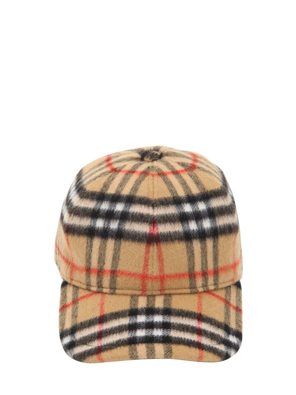 1d27c787471 Burberry Vintage Check Wool Baseball Hat for Men - Lyst