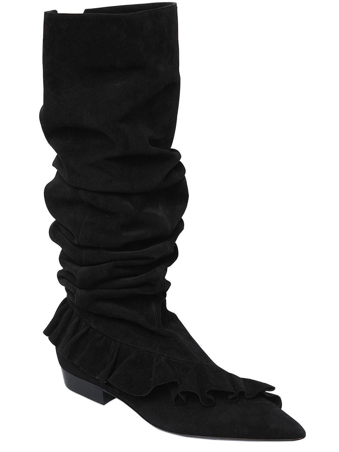 J.W.Anderson 10MM RUFFLE SUEDE BOOTS QBt4lOK