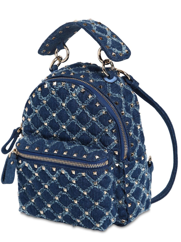 Valentino blue spike denim backpack view fullscreen jpg 1125x1500 Blue  spike backpack bc14c06a2c462