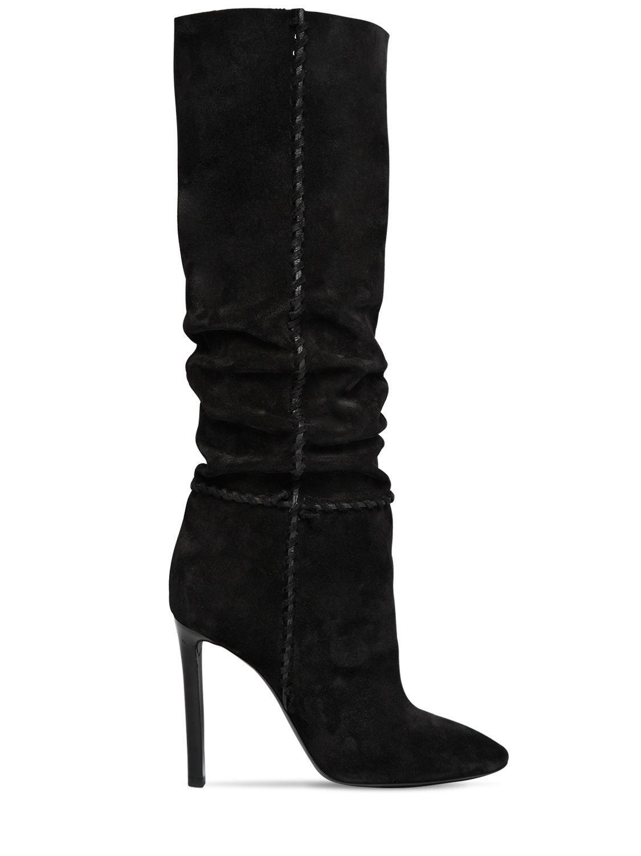 dce19c2c708 Lyst - Saint Laurent 105mm Mica Suede Slouchy Boots in Black