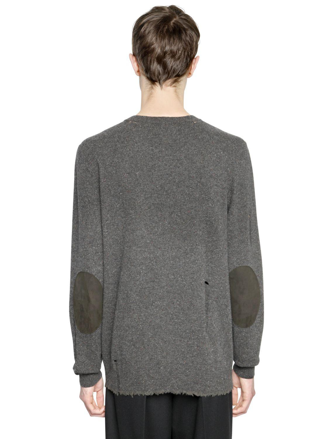 DESTROYED CREWNECK WOOL BLEND SWEATER