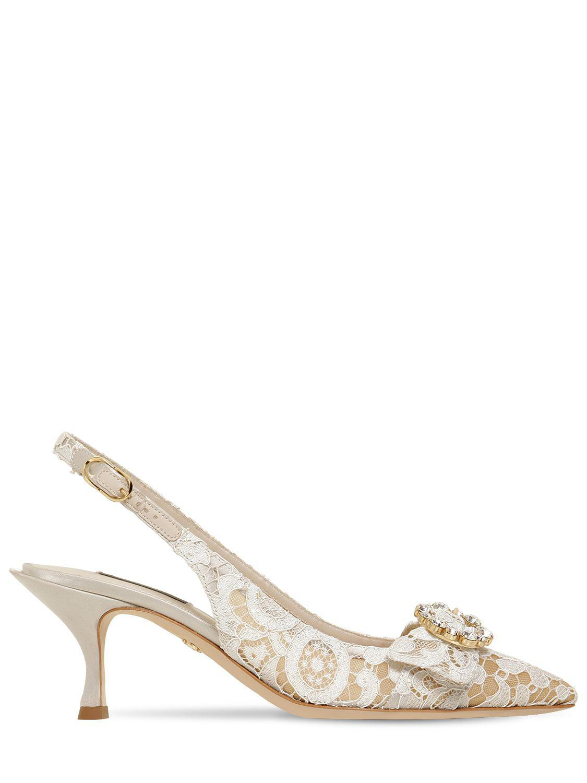 e438ebf34b6 Lyst - Dolce   Gabbana 60mm Lori Crystals Lace Slingback Pumps in White