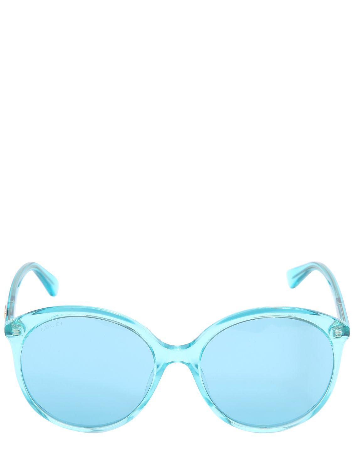 648b6ee12f200 Lyst - Gucci Oversize Round Sunglasses in Blue
